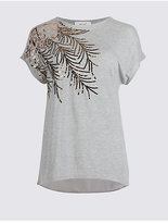 Per Una Embellished Sparkly Short Sleeve T-Shirt