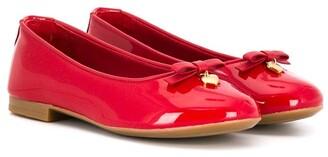 Dolce & Gabbana Kids Logo-Charm Ballerina Shoes