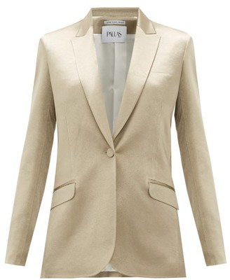 Pallas X Claire Thomson-jonville - Gala Single-breasted Hammered-satin Jacket - Womens - Gold