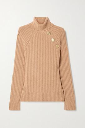 Balmain Button-embellished Ribbed Wool-blend Boucle Turtleneck Sweater - Camel