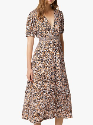 French Connection Cade Abstract Print Drape Dress, Jaffa Orange/Multi