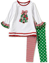 Bonnie Jean Bonnie Baby Baby Girls Newborn-24 Months Christmas Tree Appliqued Dress and Mixed-Print Leggings Set