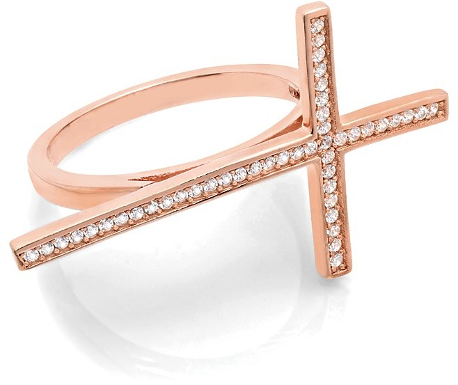Crislu Sideways Cross Collection Ring