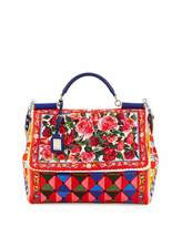 Dolce & Gabbana Maiolica-Print Top-Handle Canvas Satchel Bag, Rose/Multi