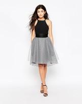 Iska Tie Waist Prom Skirt In Polka Mesh