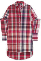 Alexander McQueen Oversized Cutout Checked Silk And Cotton-blend Shirt