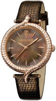 Roberto Cavalli SNAKE LUGS Women's Swiss-Quartz Brown Leather Strap Watch