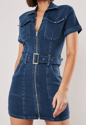 Missguided Petite Blue Zip Though Belted Mini Dress