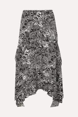 J.W.Anderson Asymmetric Printed Silk Midi Skirt - Black