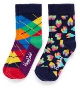 Happy Socks Argyle and 3D heart kids socks 2-pair pack