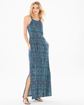 Soma Intimates Cross Back Halter Maxi Dress Porto Tile Navy