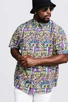 BoohooMAN Big & Tall Multi Print Regular Fit Shirt