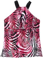Dana Buchman zebra high-neck halterkini top