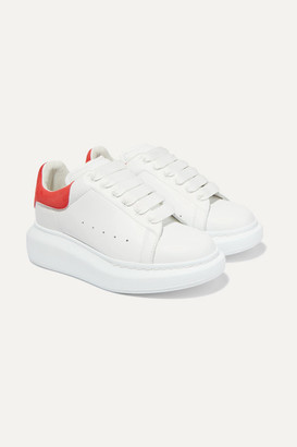 Alexander McQueen Kids Kids - Suede-trimmed Leather Exaggerated-sole Sneakers - Red