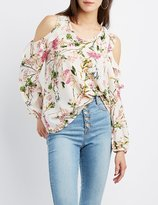 Charlotte Russe Floral Ruffle-Trim Cold Shoulder Top