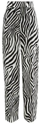 Sara Battaglia Zebra-print Velvet Wide-leg Trousers - Womens - Black White