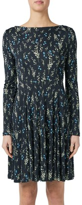 Erdem Floral Boatneck Fit-&-Flare Dress