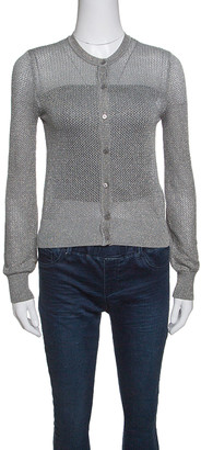 M Missoni Grey Perforated Lurex Knit Cropped Cardigan S