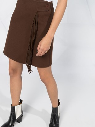 P.A.R.O.S.H. Fringed Wrap Mini Skirt