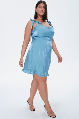 Forever 21 Plus Size Sheeny Self-Tie Mini Dress