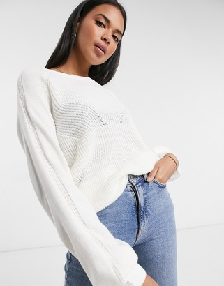 Vila knitted jumper with balloon sleeve in white