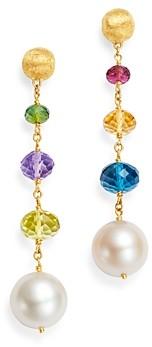 Marco Bicego 18K Yellow Gold Africa Gemstone Pearl & Gemstone Drop Earrings