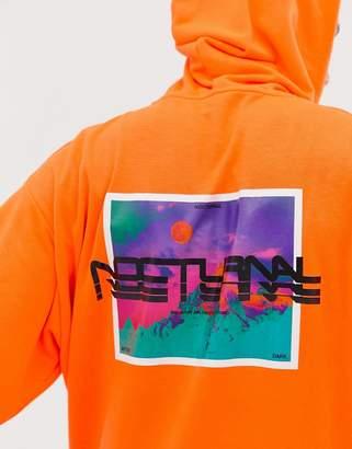 Asos Design DESIGN oversized hoodie with back print in neon orange