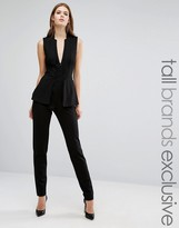 Taller Than Your Average TTYA Black Kiren Sleeveless Two In One Blazer Overlay Tailored Jumpsuit
