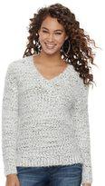 JLO by Jennifer Lopez Women's Marled Boucle V-Neck Sweater
