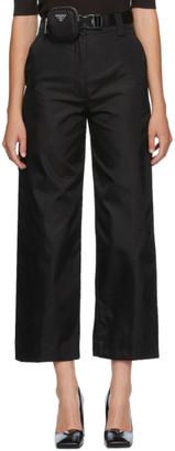 Prada Black Recycled Nylon Gabardine Trousers