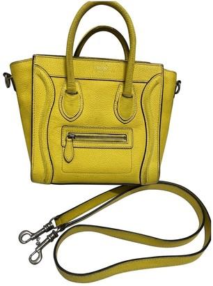 Celine Nano Luggage Yellow Leather Handbags