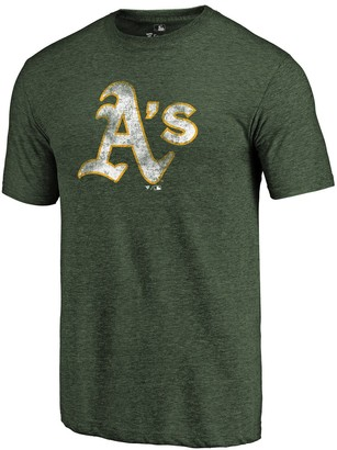 Fanatics Men's Heathered Green Oakland Athletics Distressed Team Tri-Blend T-Shirt
