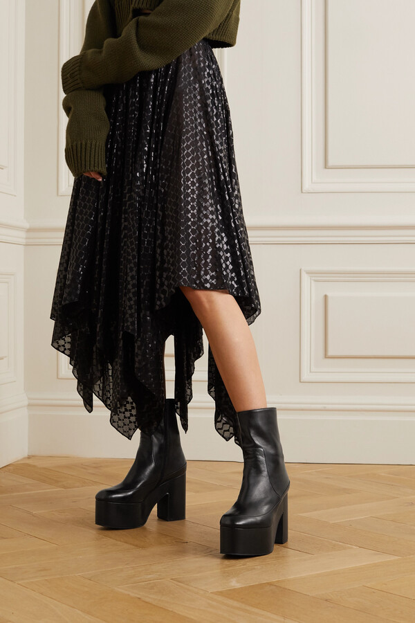 Thumbnail for your product : Dries Van Noten Leather Platform Ankle Boots - Black