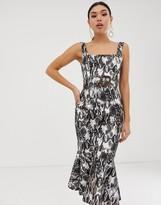 Asos Design DESIGN midi dress with pep hem and belt detail in snake print