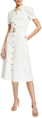 Shoshanna Annette Belted Midi Dress