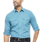 Claiborne Slimj Fit Roll Sleeve Button Front Shirt