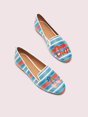 Kate Spade Lounge Cherries Striped Raffia Loafers