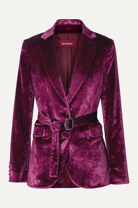 Sies Marjan Terry Belted Crushed-velvet Blazer - Violet