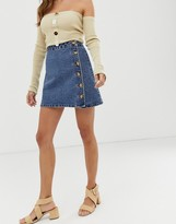 Asos Design DESIGN denim wrap skirt with side buttons in blue