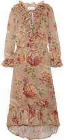 Zimmermann Corsair Ruffled Printed Crocheted Lace-trimmed Voile Midi Dress - Peach