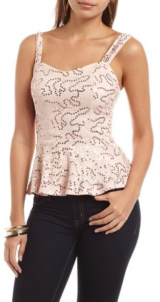 Charlotte Russe Sequin Lace Peplum Top