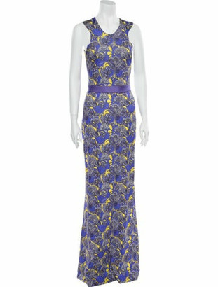 Just Cavalli Floral Print Long Dress Purple