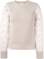 See by Chloe lace-sleeve sweater - women - Cotton - M