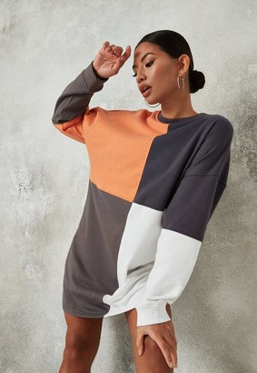 Missguided Charcoal Colorblock Oversized Sweater Dress