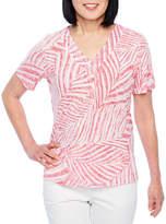 Alfred Dunner Classics Short Sleeve V Neck T-Shirt-Womens