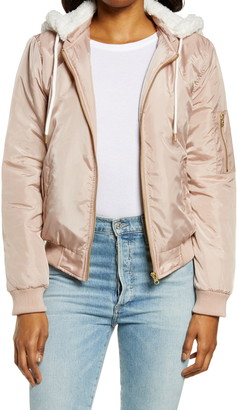 Hurley Bomber with Faux Shearling Hood