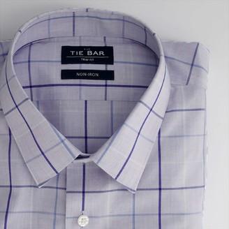 Tie Bar Oversized Tattersall Lavender Non-Iron Dress Shirt
