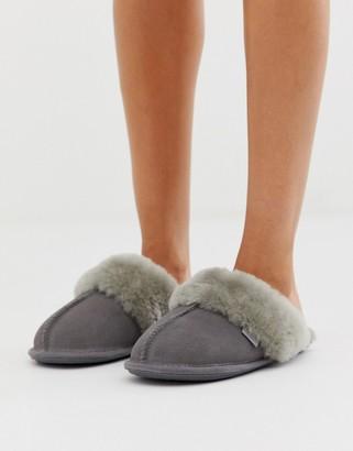 Just Sheepskin mule slippers-Gray