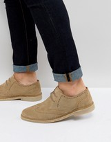Asos Derby Shoes In Stone Suede With Brogue Detailing