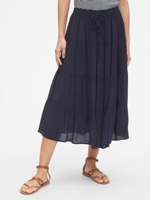 Gap Crinkle Tiered Midi Skirt